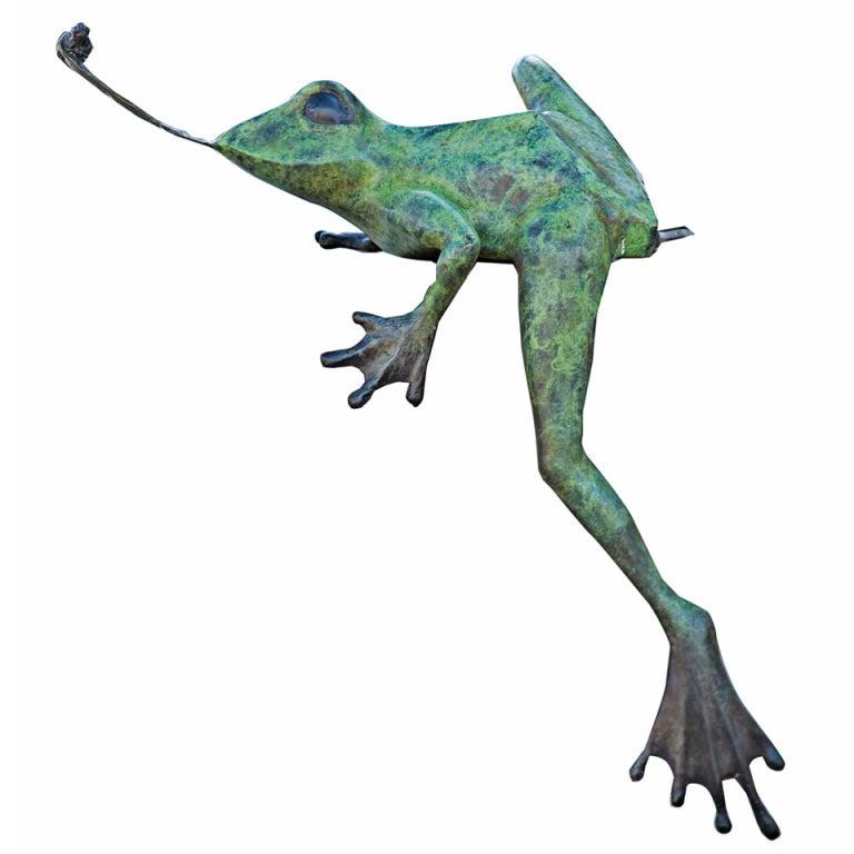 Bronze Frog Garden Sculpture At 1stdibs