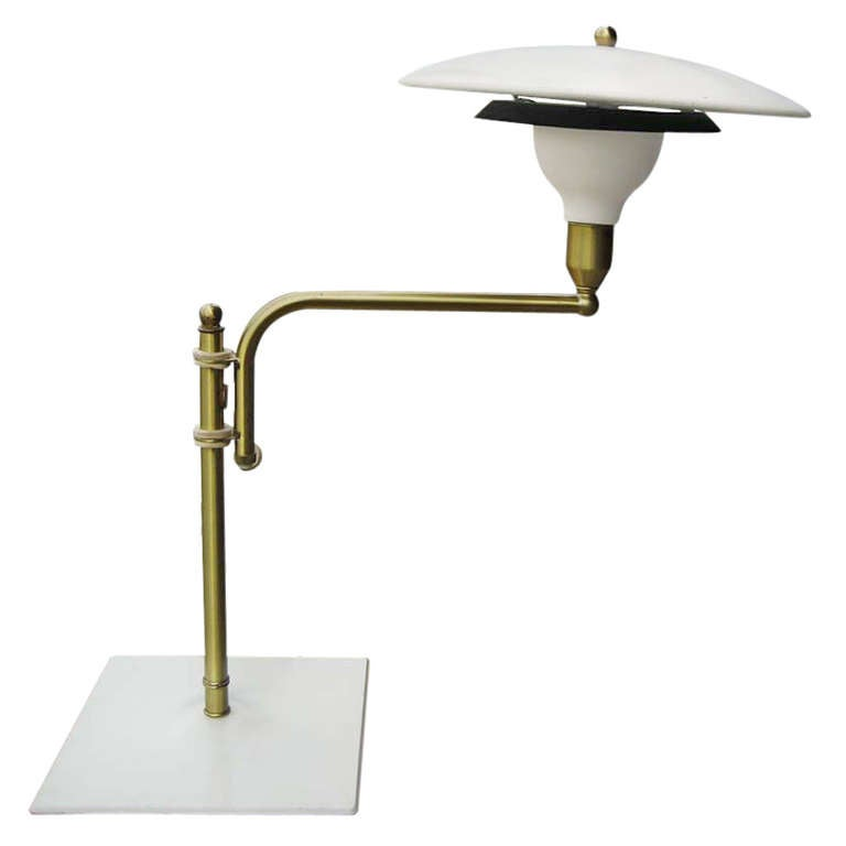 Art Deco Swing Arm Desk Lamp With Saucer Shade For