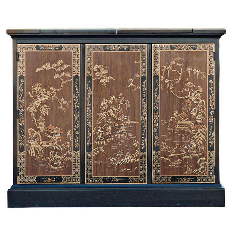 Drexel Heritage Chinoiserie Rolling Buffet At 1stdibs