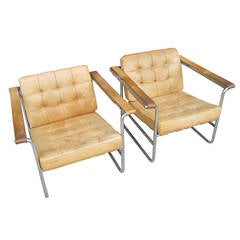 Pair of Vintage Leather and Chrome Lounge Chairs by Kurt Thut for Stendig