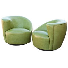 Pair Of Vladamir Kagan Patent Leather Nautilus Swivel Lounge Chairs