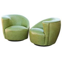 Pair Of Vladamir Kagan Patent Leather Nautilus Swivel Lounge Chairs