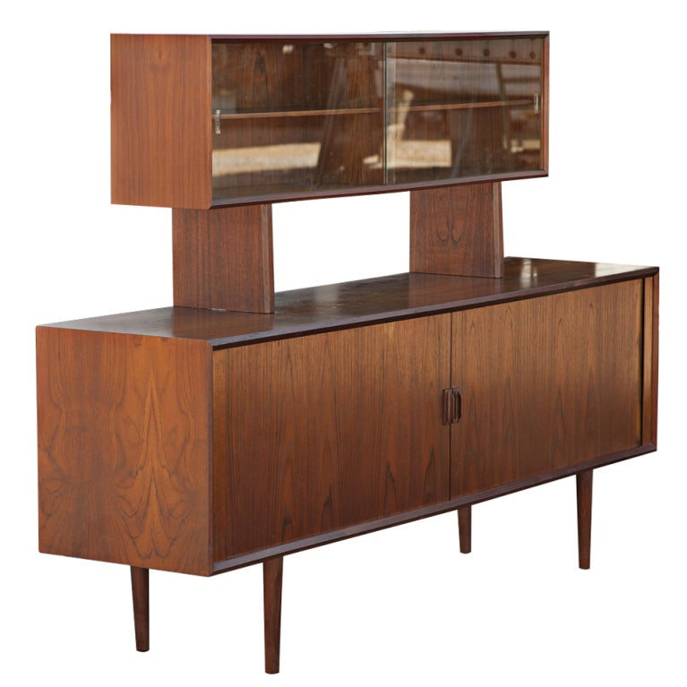 Mid Century Modern Danish Credenza with Floating Hutch For Sale at