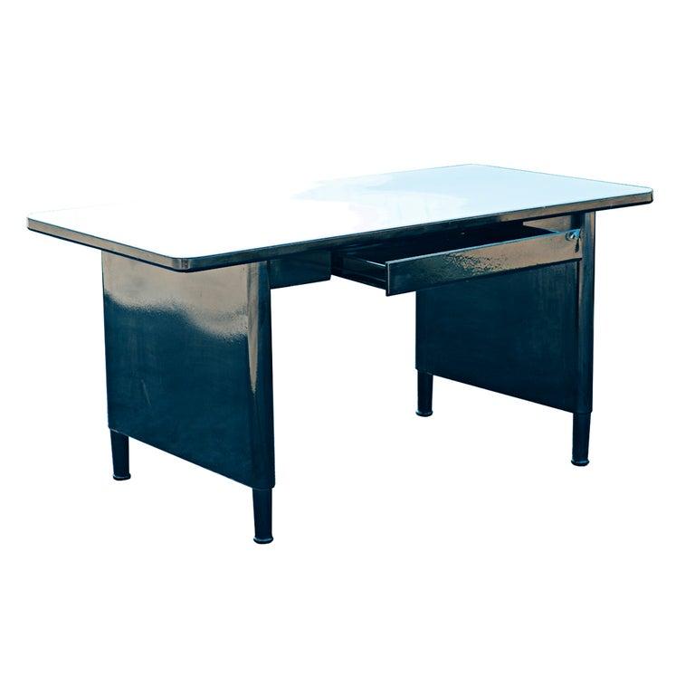 Mid Century Modern Vintage Mid Century McDowell And Craig Panel Leg Desk Work  Table For