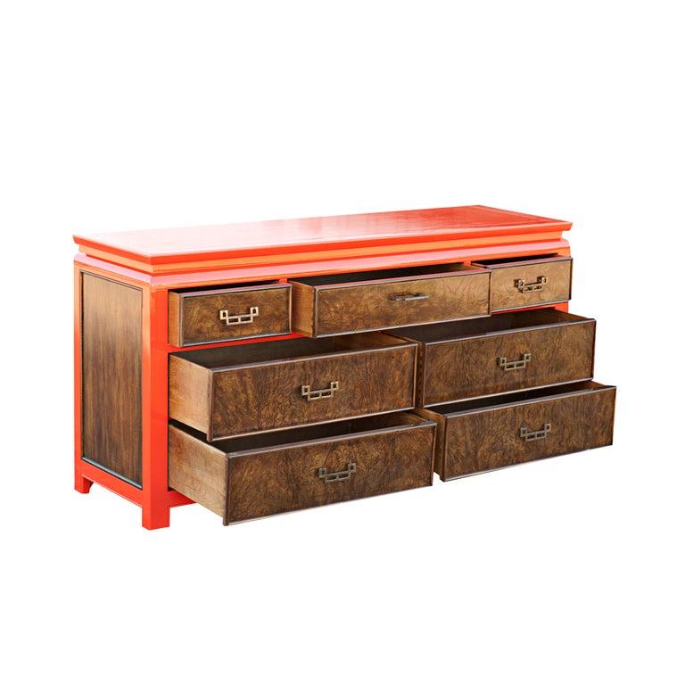 Mid-Century Modern Century Chin Hua Burled Ash And Orange Lacquer Dresser