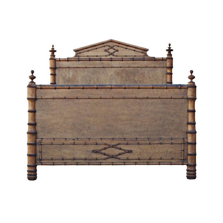 Vintage Faux Bamboo And Wood Bed At 1stdibs