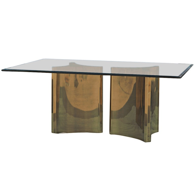 Brass Double Pedestal Hollywood Regency Dining Table At 1stdibs