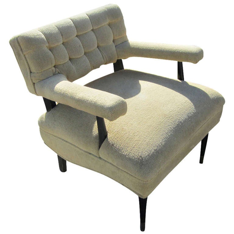Mid Century Modern Tufted Lounge Chair For Sale at 1stdibs