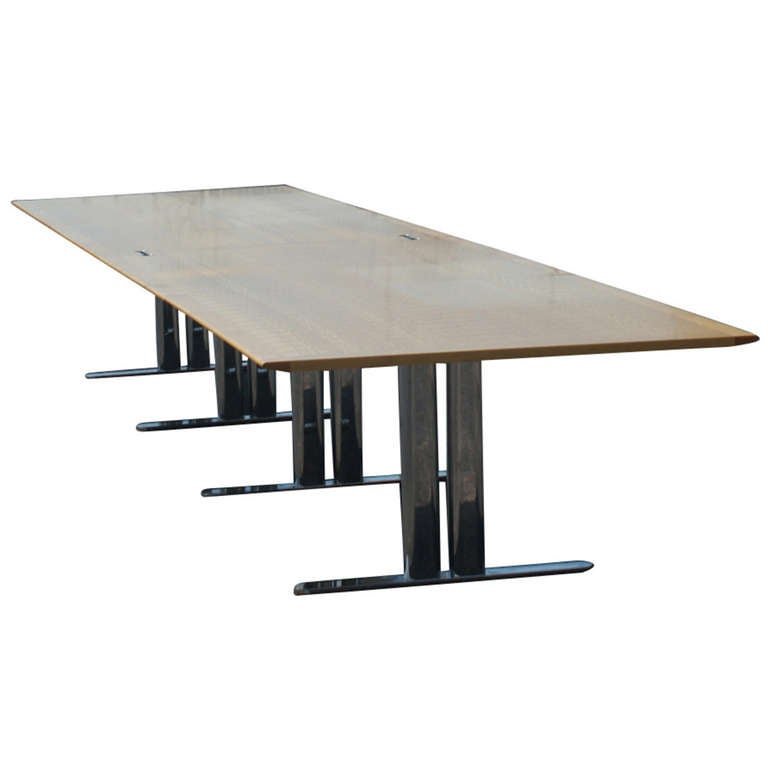 John Geiger For Herman Miller Conference Table With Stainless Steel - 18 ft conference table