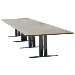 John Geiger for Herman Miller Conference Table with Stainless Steel Base; 18 Ft