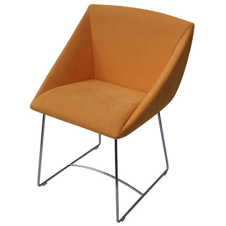 Ligne Roset Papillon Side Arm Chair Orange For Sale