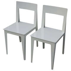 Pair of Ligne Roset La Pilee Dining Chairs White Lacquer