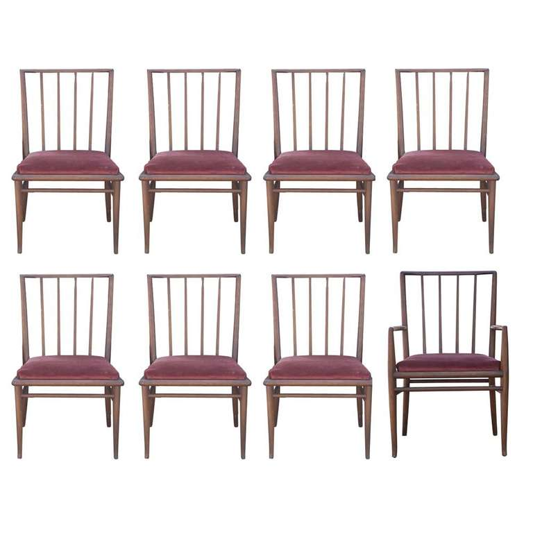 8 T.H. Robsjohn Gibbings For Widdicomb Mahogany Dining Chairs
