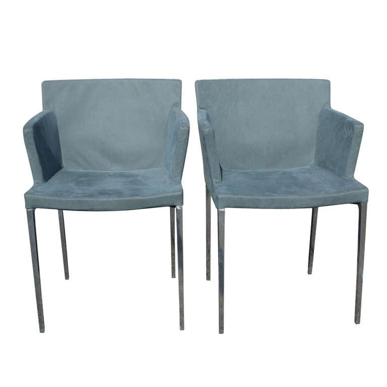 Ligne Roset Guest Aluminum Dining Armchairs Pair At 1stdibs
