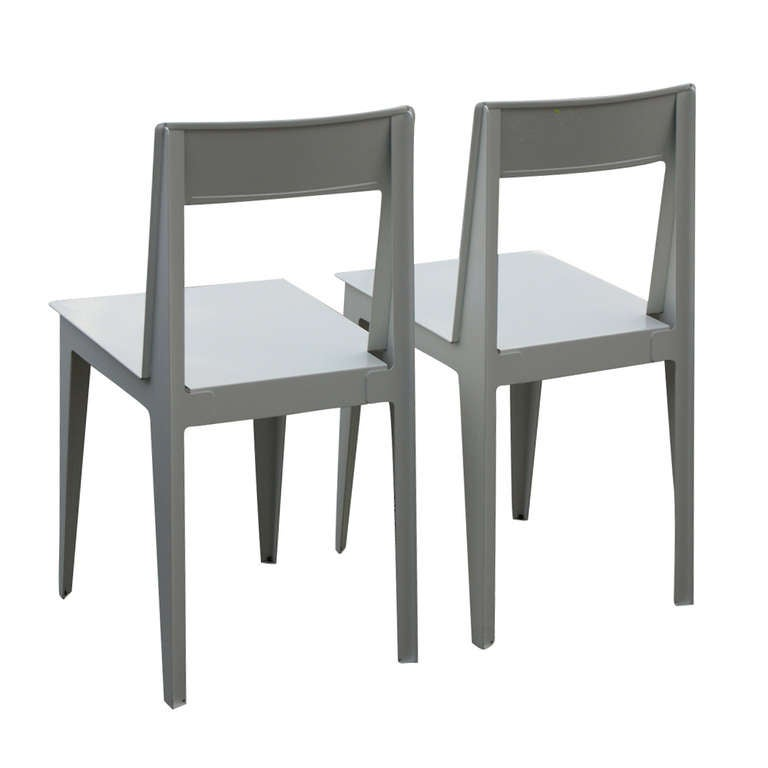 Pair of Ligne Roset La Pilee Dining Chairs White Lacquer ...