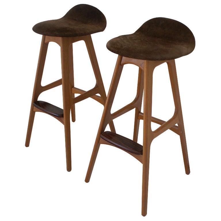 Pair of erik buch teak scandinavian bar stools at 1stdibs - Erik buch bar stool ...