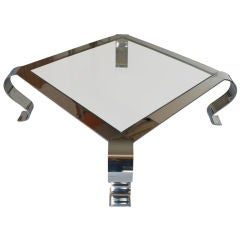 Vintage Mid Century 46in Chrome And Glass Coffee Table