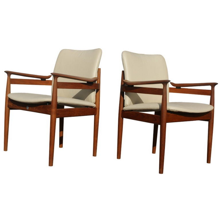 this six finn juhl teak and leather scandinavian dining chairs is no