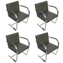 Four Mies Van Der Rohe For Knoll Gray Leather Brno Chairs