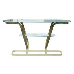Two Tier Brass And Glass Console Sofa Table