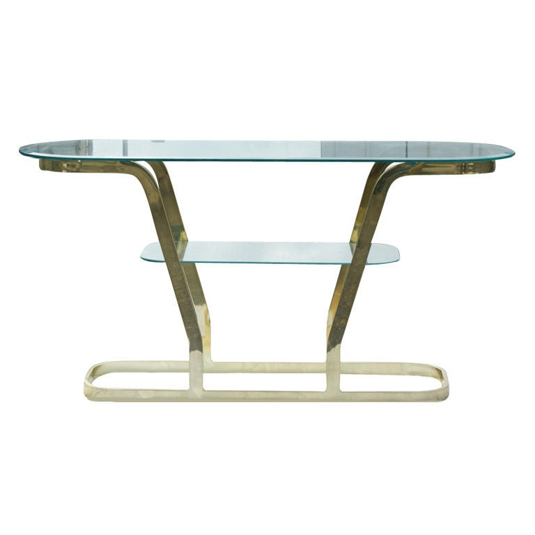 Two Tier Brass And Glass Console Sofa Table For Sale At