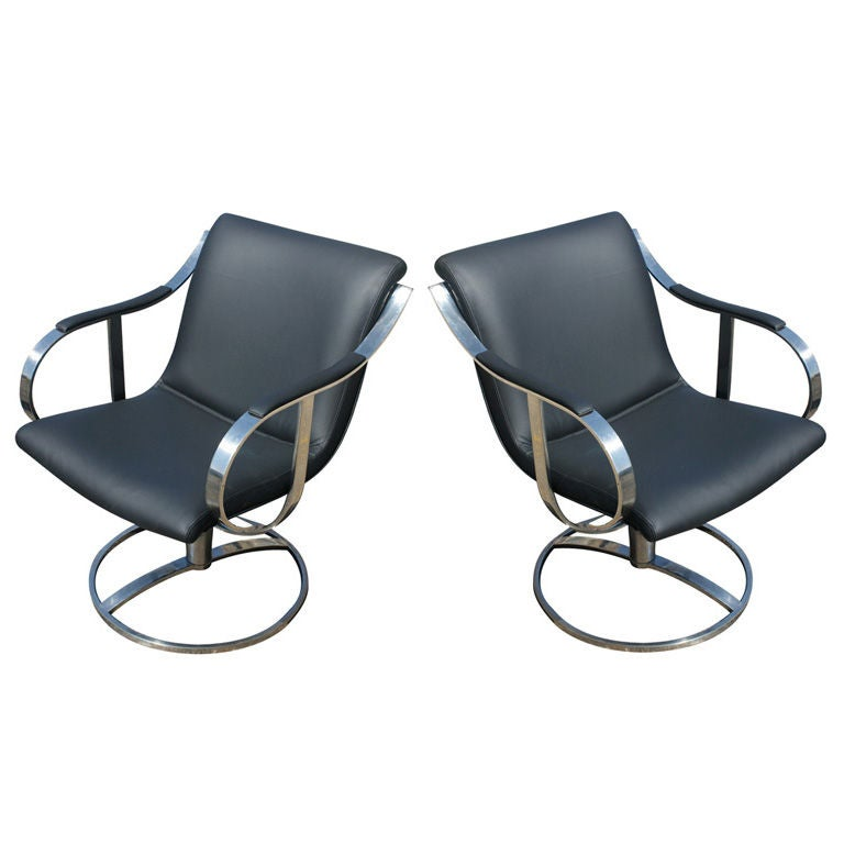 Pair of Gardner Leaver for Steelcase Black Swivel Lounge Chairs