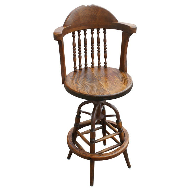 Antique Bar Stools: Antique Swivel Oak Drafting Or Bar Stool At 1stdibs