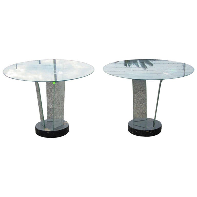 Ben Mildwoff Art Deco Bent Glass Side Tables, Pair For Sale