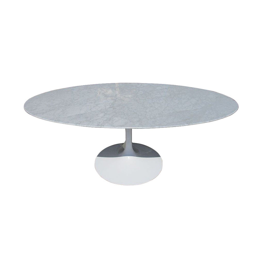 Vintage Oval Carrera Marble Dining Table In The Style Of Saarinen At