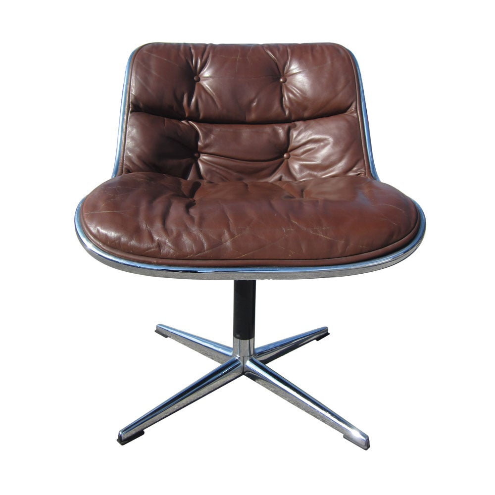 pair of vintage knoll pollock brown leather executive chairs at  - pair of vintage knoll pollock brown leather executive chairs