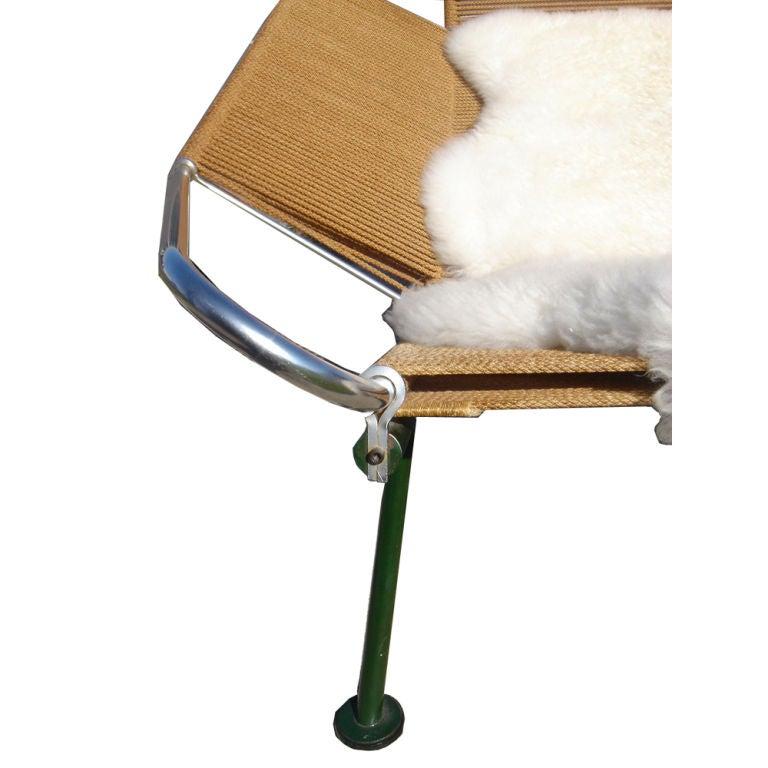 Sheepskin Hans Wegner Flag Halyard Lounge Chair For Sale