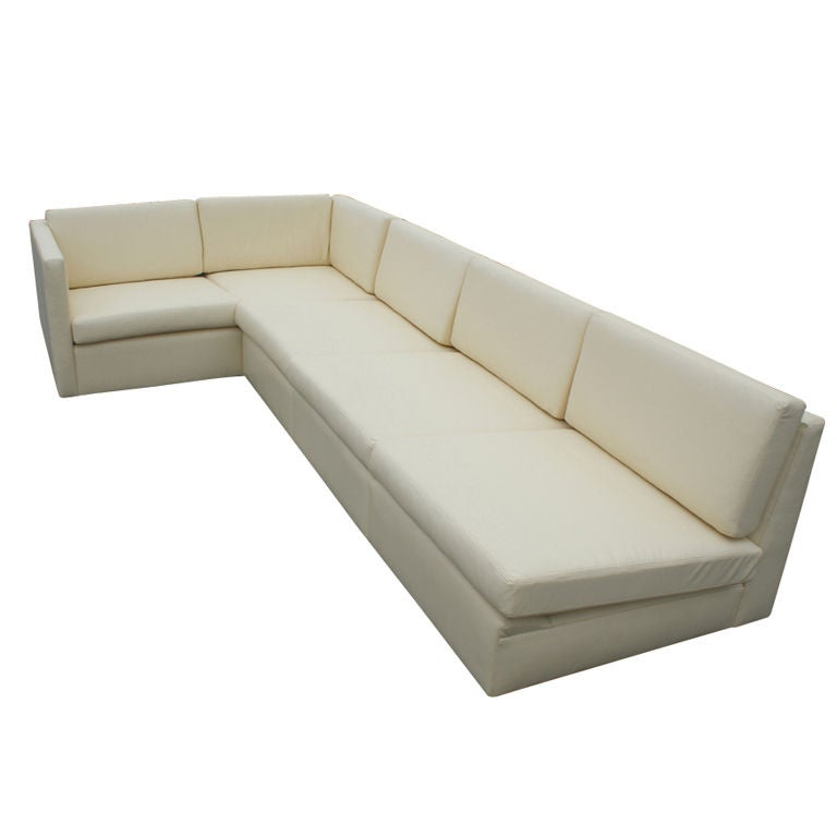 Charles Pfister For Knoll L Shaped Leather Sectional Sofa