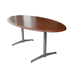 Stow Davis Oval Walnut Table Desk