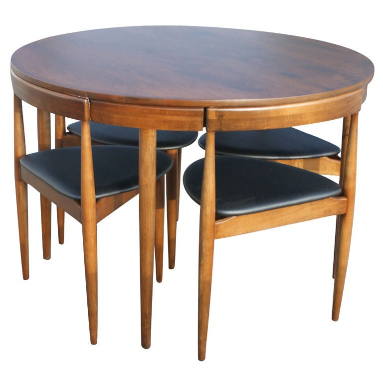 Hans olsen for winchendon teak dining set for Round dining table with hidden chairs