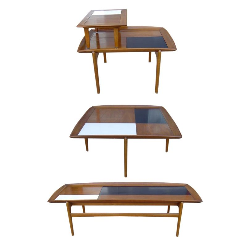 3 FT Square John Keal For Brown Saltman Checkered  Coffee Table sale 4