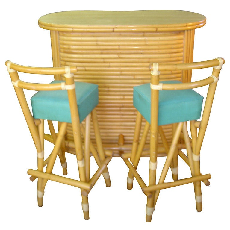 Vintage Rattan Tiki Bar And Stools 1