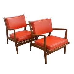 Pair Jens Risom Walnut Lounge Chairs