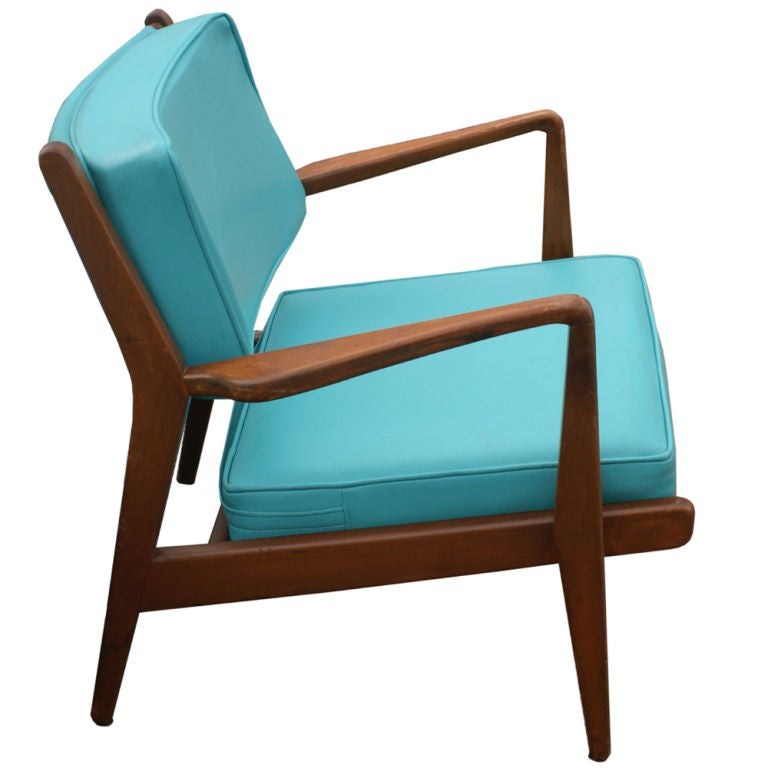 pair jens risom walnut and leather lounge chairs at 1stdibs