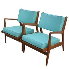 Pair of Jens Risom Walnut and Leather Lounge Chairs