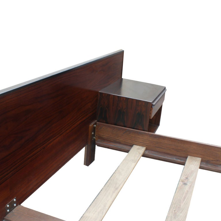 mid century modern rosewood and walnut queen size bed dog br