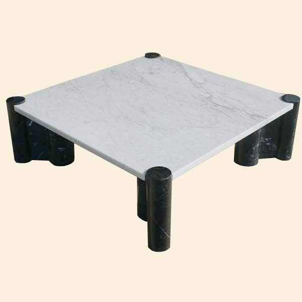 Gae Aulenti For Knoll Black And White Marble Coffee Table At 1stdibs