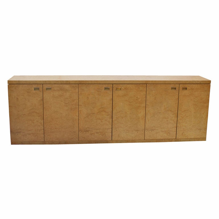 Long burled maple credenza cabinet at stdibs
