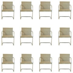 Twelve Mies Van Der Rohe For Knoll Tubular Brno Arm Chairs