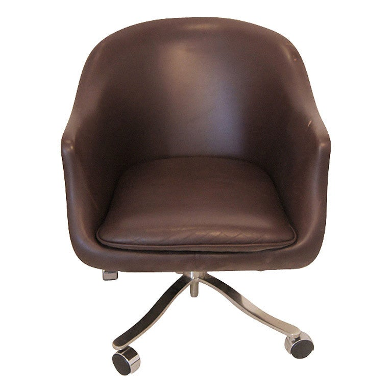 Nicos Zographos Brown Leather Bucket Chair (5 Available) at 1stdibs