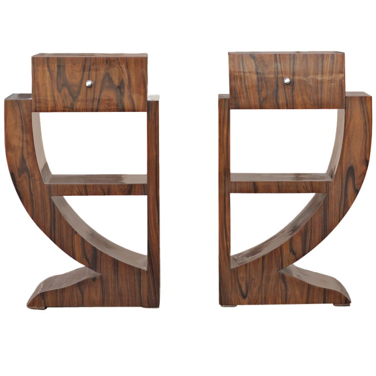 pair of rosewood art deco style nightstands side tables at 1stdibs art deco style rosewood