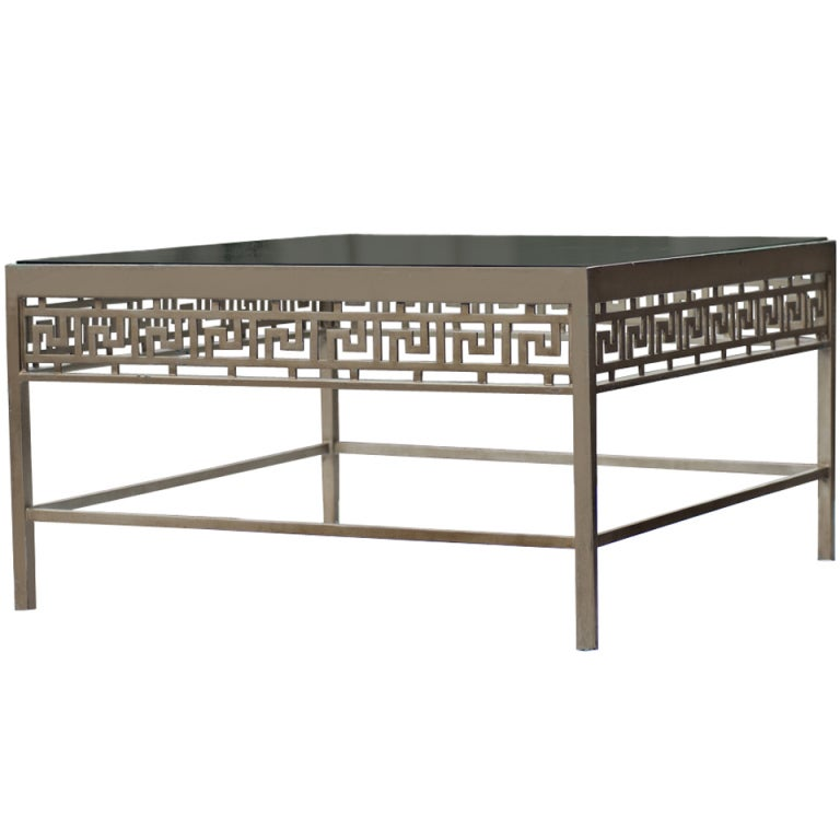 Metal And Glass Greek Key Design Coffee Table