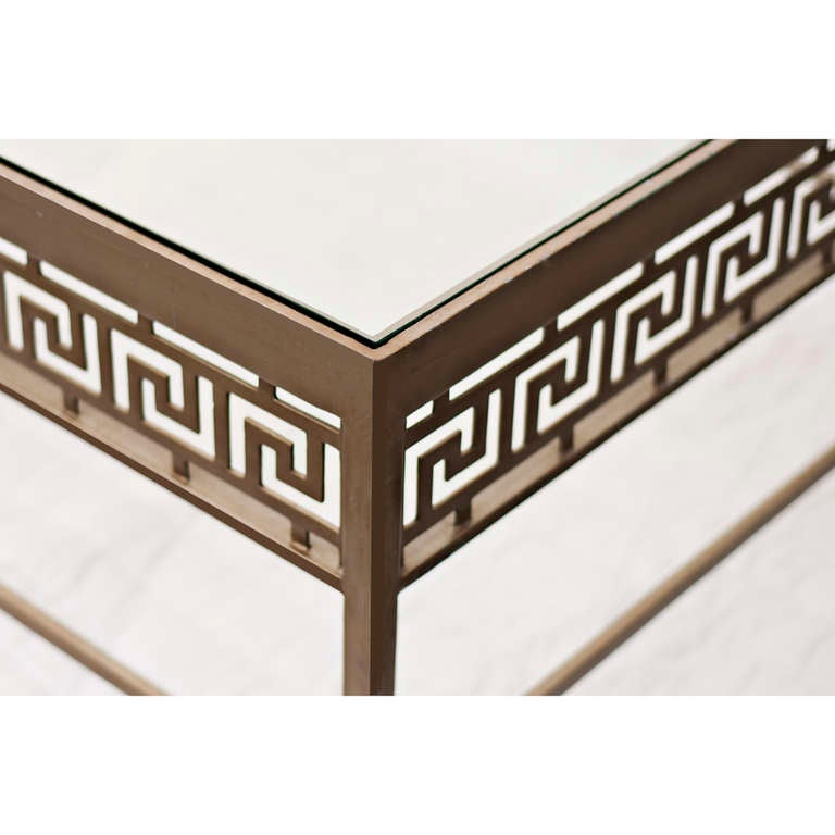 Metal And Glass Greek Key Design Coffee Table At 1stdibs