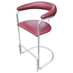 Vintage Lorenz Thonet Chrome Counter Bar Stool