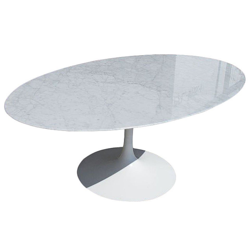Vintage oval carrera marble dining table in the style of for Table carrera