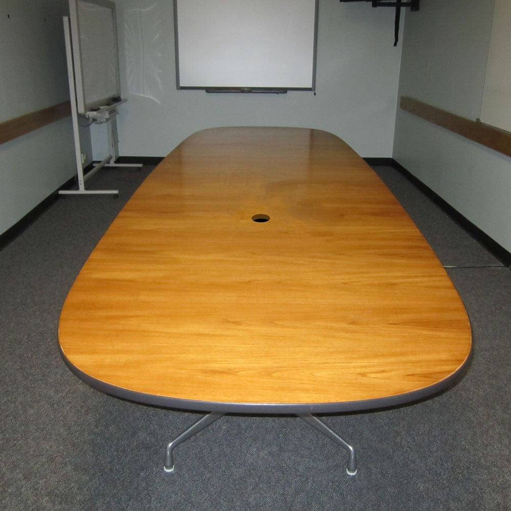 Vintage Wood Veneer Conference Table Designed By Eames For Herman - Wood veneer conference table